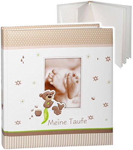 großes Fotoalbum -  Meine Taufe  __ süßer Teddy Bär & Babyfüße __ Taufalbum - Gebunden zum Einkleben & Eintragen - blanko weiß - groß 60 Seiten - für bis zu..