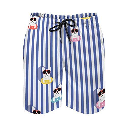 QUEMIN Pantalones cortos de playa con cordón para hombre, Bulldog francés con gafas de sol, forro de malla de secado rápido con bolsillos