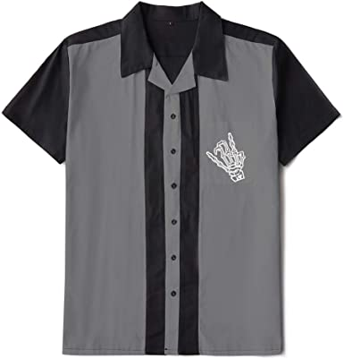Candow Look Bolos para Hombre Worker Camisa Rockabilly Two-Tone Fifties Vintage Retro Double Panel Embroidered Shirts