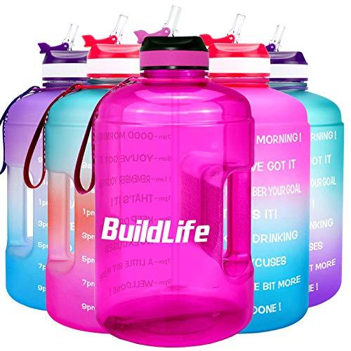 BuildLife Botella de agua motivacional de 3,78 l/2,2 l, boca ancha con pajita y tiempo marcado para beber más diariamente, sin BPA, reutilizable, para gimnasio, deportes al aire libre, morado, 2.2L