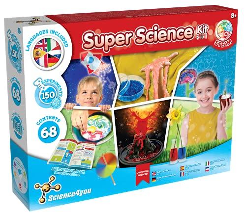 Science4you - Super Kit Scientifique pour Enfants +8 Ans - 150 Experiences Scientifiques: Laboratoire de Chimie, Kit Volcan, Kit Jardinage Enfant et plus, Activités Manuelles et Jeu Enfant 8-12 Ans