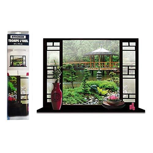 Asie - Pegatina con diseño de jardín Zen japonés