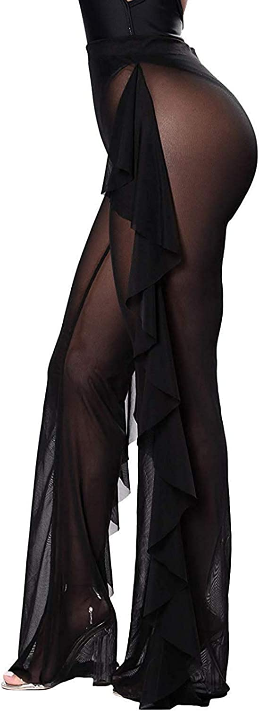 bebiullo Women's Perspective Sheer Mesh Pants Swimsuit Bikini Bottom Cover ups Pants