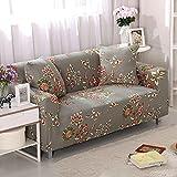 Funda Sofas 2 y 3 Plazas Flores Marrones Vintage Fundas para Sofa con Diseño Universal,Cubre Sofa Ajustables,Fundas Sofa Elasticas,Funda de Sofa Chaise Longue,Protector Cubierta para Sofá