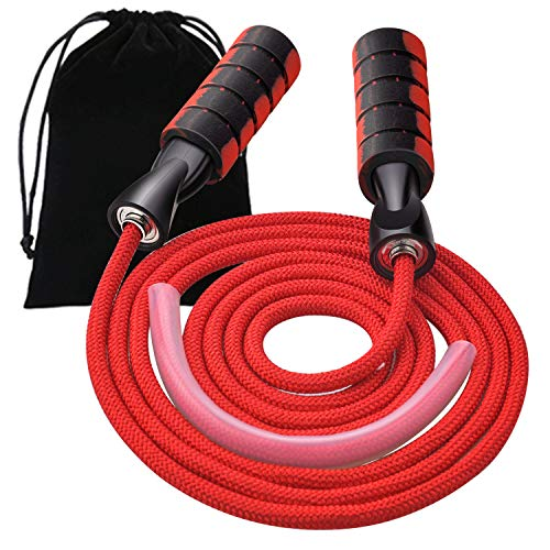 Upgraded Jump Rope, VATI Tangle-Free Double Ball Bearing Fast Skipping Rope, Adjustable Jumping Rope with Memory Foam Antiskid Handles for Women/ Men's Indoor/Outdoor Workout, Aerobic Exercise (Red)