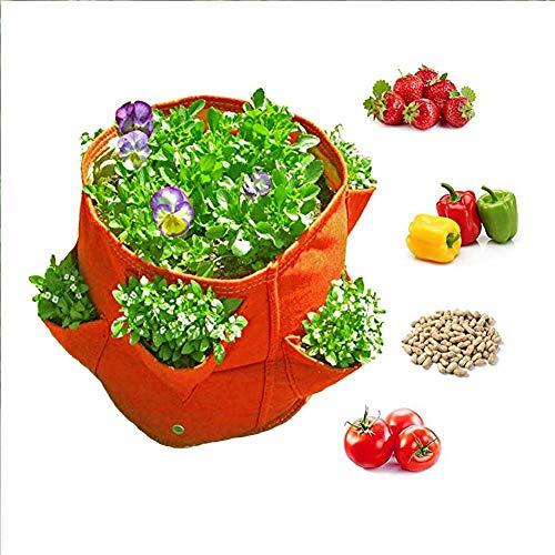 Yinuoday Plant Grow Tassen, Tuin Zware Beluchting Stof Potten met Handvatten voor Boerderij Planten Bloemen Groenten Container L ORANJE