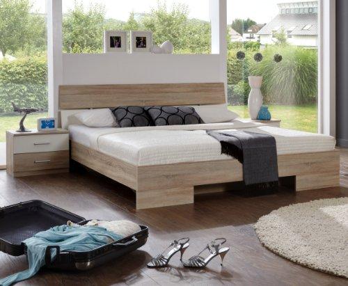 Wimex Schlafzimmer Set Alina, Bestehend aus Bett und Nachtschränken, Liegefläche 180x200 cm, Eiche Sägerau