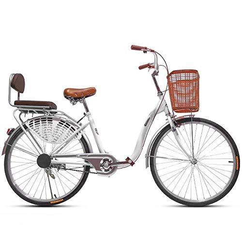 JXH 24 Pulgadas Ligera Movilidad en Bicicleta Hombre Ordinario Estudiante Adulto Señora Urbana de cercanías de Coches, Marco de Acero al Carbono de Alta Espesado de una curvatura Simple