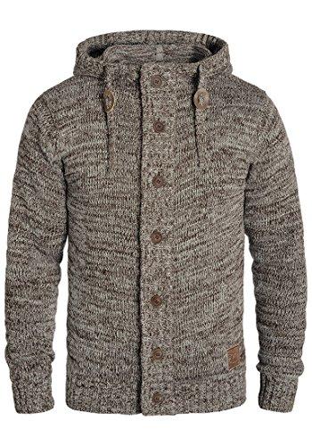 !Solid Pierrot Herren Strickjacke Cardigan Grobstrick Winter Pullover mit Kapuze und Knopfleiste, Größe:L, Farbe:Coffee Bean (5973)