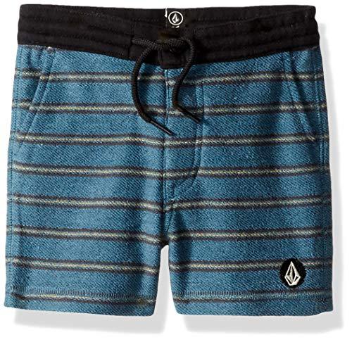 Volcom - Pantalón corto de deporte con cintura elástica para niños pequeños -  Azul -  7X