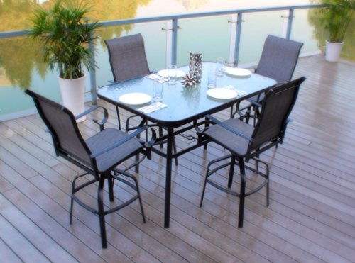 Pebble Lane Living All-Weather Rust Resistant Indoor/Outdoor 5 Piece Powder Coated Patio Bar Dining Set