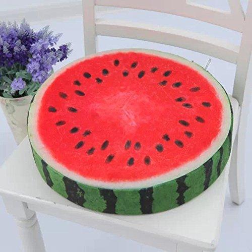 Everyday Cuscino morbido rotondo a forma di frutto, felpato, a forma di kiwi, arancia e anguria, Red, 1
