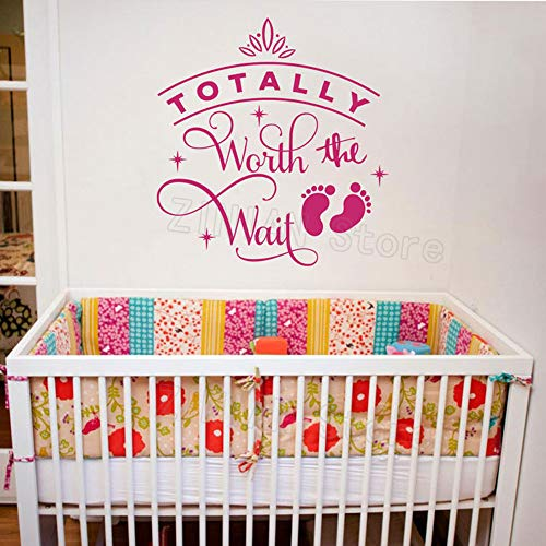 Totalement Worth The Wait Mur Autocollant Citation Fille Nursery Vinyle Stickers Princesse Salle Décoration Amovible Bébé Filles Autocollants 56x60 cm