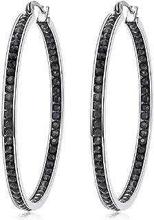 large black diamond hoop earrings