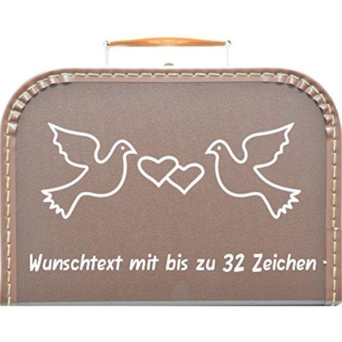 Hochzeitskoffer, Pappkoffer braun mit Motiv Tauben, Farbe des Motivs wählbar, Wunschname/Wunschtext inkl, Pappkoffer, 30cm