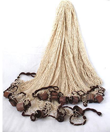 Fischernetze großes Baumwoll Dekoration ca. 250x250cm Beige mit Holzschwimmern