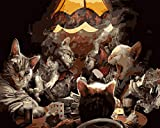 Pintura por números Bricolaje DIY Pintura al óleo Lona Mural Juego de cartas Cat Animal 40x50cm-con marco