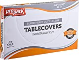 [20 Count 160' X 66'] Heavy Weight Clear Disposable Plastic Pre Cut Table Covers Individually Cut, Great for Wedding Reception Events Picnics Or Home Use by ProPack