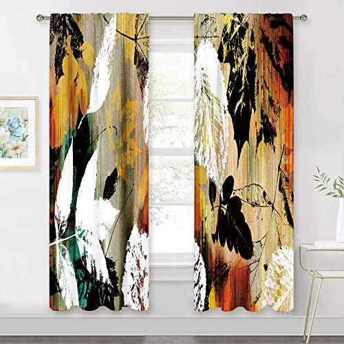 MESHELLY Watercolour Leaves Retro Curtains 42 (W) x 63(H) Inch Rod Pocket Floral Rustic Shabby Chic White Green Yellow Red Art Printed Living Room Bedroom Window Drapes Treatment Fabric 2 Panels