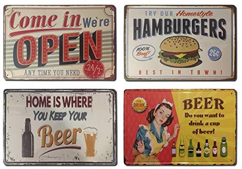 Chapas Vintage [ Bar, Cafetería, Restaurante, Cervecería o Casa ] Set de 4 Chapas con Relieve y Autocolgables | Placas Decorativas Retro Metálicas de Comidas y Bebidas 20x30 cm