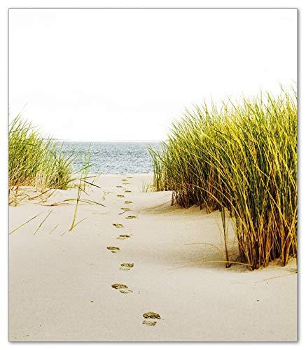 Wallario Herdabdeckplatte/Spritzschutz aus Glas, 1-teilig, 52x60cm, für Ceran- und Induktionsherde, Spuren im Sand- Fußspuren durch die Düne zum Meer