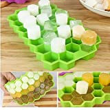 Birud Flexible Silicon Honeycomb Shape Ice Cube Mould Chocolate Cake Maker Tray-37 Cavities