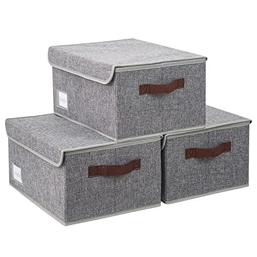 BrilliantJo 3er Set Aufbewahrungsboxen mit Deckel, faltbare leinen Aufbewahrungskiste mit Etikettenhalter und 2 Ledergriffen 40 x 30 x 18 cm Grau