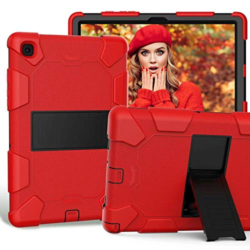 """ATOOZ - Custodia in silicone per Samsung Galaxy Tab A7 T500 T505 2021, 10,4"""", con supporto per PC e tablet, anti-goccia per Samsung Galaxy Tab A7, colore: Rosso"""