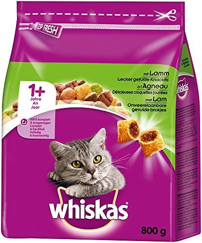 Whiskas Katzenfutter Trockenfutter Adult 1+ mit Lamm, 5 Beutel (5 x 0,8 kg)