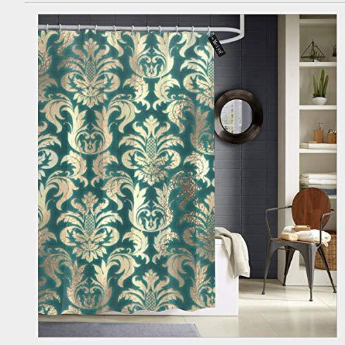 Colin-Design Badezimmer-Duschvorhang, Damast, Sepia Gold Lux, Metallic-Blaugrün, Samt-Effekt, mit 12 Haken, 182,9 x 182,9 cm