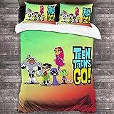 Juego de ropa de cama Teen Titans, juego de ropa de cama para niños y niñas, dibujos animados, 3 piezas, microfibra suave y cómoda, con 2 fundas de almohada (aven, 140 x 210 cm + 50 x 75 cm x 2)