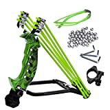 NOBONDO Strong Folding Wrist Rocket Slingshot - Heavy Duty Adjustable Stainless Steel Wrist Brace Hunting Catapult with 2 Rubber Bands and 100 Ammo Balls