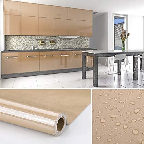 KINLO möbelfolie Braun 61x500cm aus PVC tapeten küche klebefolie aufkleber küchenschränke Wasserfest aufkleber für schrank selbstklebende folie Küchenschrank küchenfolie Dekofolie MIT GLITZER