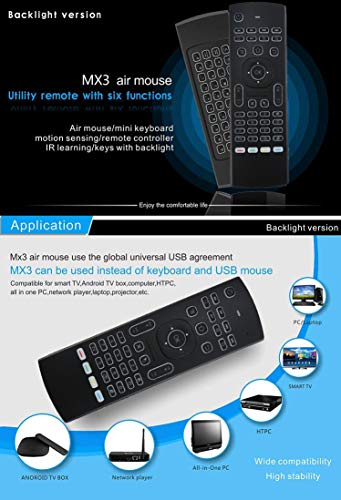 MX3 Pro Mini Keyboard Backlight Air Remote Mouse,Android TV Remote Control,IR Learning Mini Wireless Keyboard for Android TV Box.HTPC.IPTV.Pad.PS3/PS4