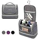 YOBAN Hanging Travel Toiletry Bag with Wet Compartment for Women,Waterproof Portable Bathroom Cosmetic Makeup Organizer Bag, Travel Accessories Toiletry Kit (Gray)