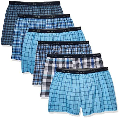 Hanes Men s Plus Size Tagless Boxer with Exposed Waistband 6 Pack Tartan Plaid XXX Large product image