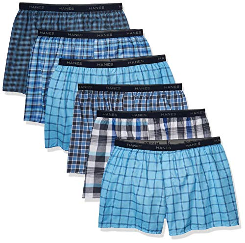 Hanes Men's Tagless Boxer with Exposed Waistband, 6 Pack Tartan Plaid, Large