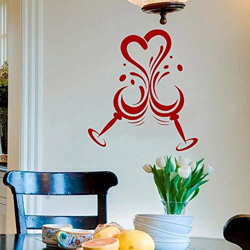 Tianpengyuanshuai Weinglas Wein Restaurant küche Dekoration wandaufkleber Vinyl Aufkleber Moderne heimtextilien Home selbstklebend 55x63cm