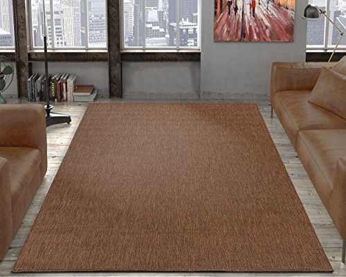 "Ottomanson Jardin Collection Sisal Area Rug, 5'3"" X 7'3"", Dark Brown"