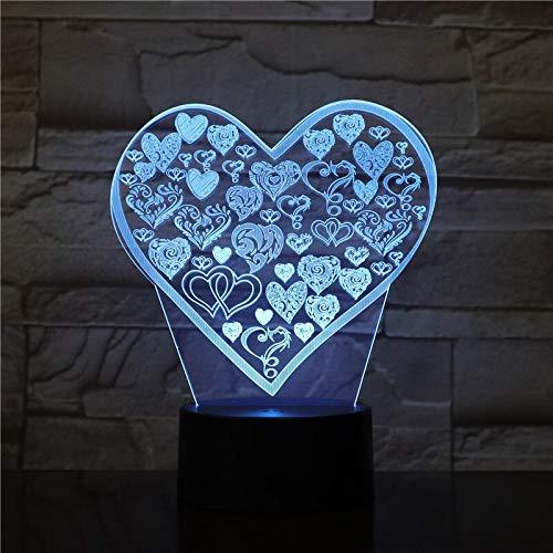 Nur 1 Stück Love Type 3D Lampe Neuartiger Preis für Teenager-Berührungssensor Spezielles Mehrfarben-Hologramm mit LED-Nachtlichtlampe
