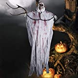 """Kissdream 76"""" Life Size Hanging Grim Reaper, Halloween Ghost for Best Halloween Indoor and Outdoor Decorations when you wake him up, the white God of death white God of death with a sense device will wake him up with a bloody light in his eyes and a terrible roar"""