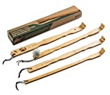 BambooWorx 4 Piece Traditional Back Scratcher and Body Relaxation Massager Set for Itching Relief, 17.5', Strong and Sturdy, 100% Natural Bamboo