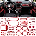 Danti 36Pcs Car Interior Accessories Decoration Cover Air Conditioning Vent & Door Speaker & Water Cup Holder & Headlight Switch & Window Lift Button Covers for Jeep Renegade 2015-2020 (Red)