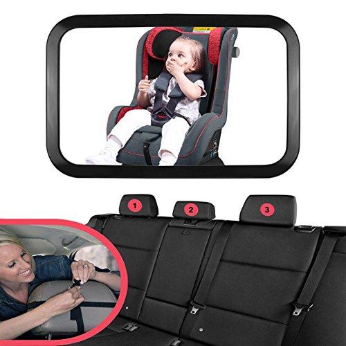 Starcrafter Specchietto retrovisore interno grande per auto (290¡Á190mm), Vi consente di prendersi cura il vostro bambino attraverso lo specchietto senza distrarsi dalla guida, 360 ¡ã regolabile specchio bambino per seggiolino auto adatto a tutti i tipi di vetture