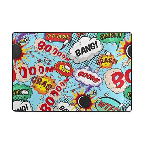 FANTAZIO Teppiche Comic Sprechblasen Bong Boom-Muster, gerader Teppich-Greifer für Ecken und Kanten, idealer Teppichstopper für Küche / Badezimmer, Polyester, 1, 72 x 48 inch