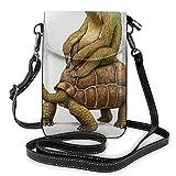 Sloth and Turtle - Mini bolso bandolera de piel para mujer, para deportes al aire libre