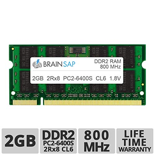 Brainsap 2GB DDR2 RAM SO-DIMM PC2-6400S 2Rx8 800 MHz Arbeitsspeicher - CL6 200 PIN SODIMM - Laptop, Notebook & Netbook