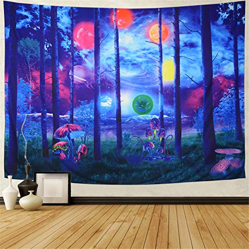 Chakra Tapestry Psychedelic Forest Nature Tapestry Planet Mountain Tapestry Blue Sky Tapestry Trippy Mushroom Tapestry Yoga Meditation Tapestry Wall Hanging for Bedroom