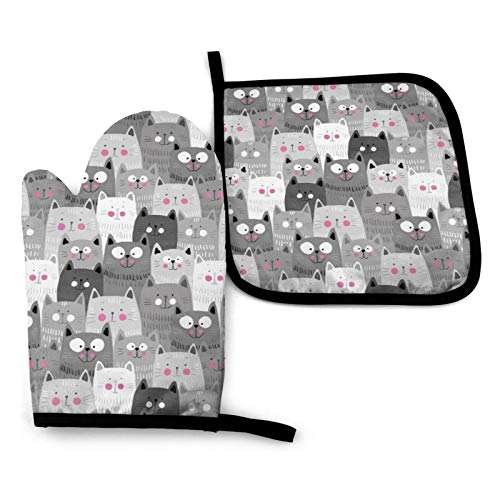 MSGUIDE Cute Cartoon Cats Print Oven Mitts Pot Holders Set, Heat Resistant Kitchen Waterproof with Inner Cotton Layer for Cooking BBQ Baking
