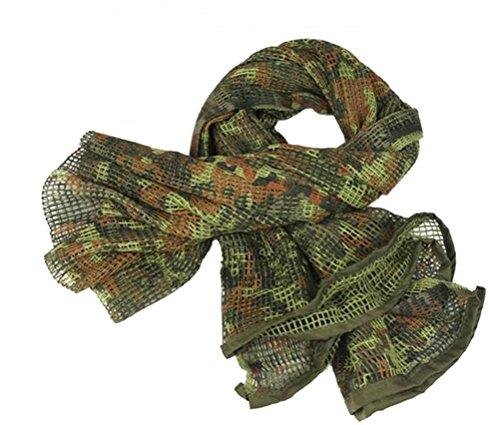 XUE Red de Camuflaje Táctica Bufanda Militar Shemagh KeffIyeh para Hombre Mujer para la Caza de Airsoft Camuflarse 180cm x 90cm